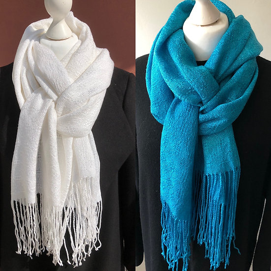 White Textured Lyocell Scarf 1 - subsequently dyed