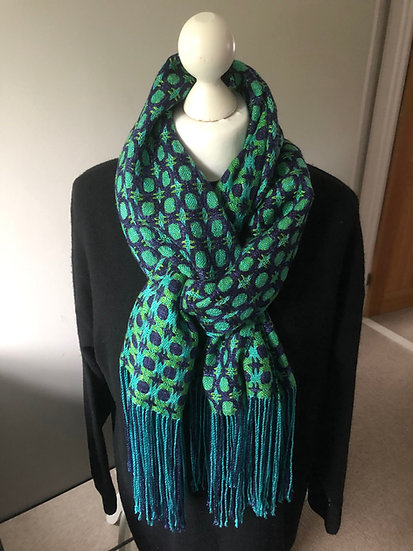 Green & Blue Circles Lyocell Scarf - please check with me before purchase