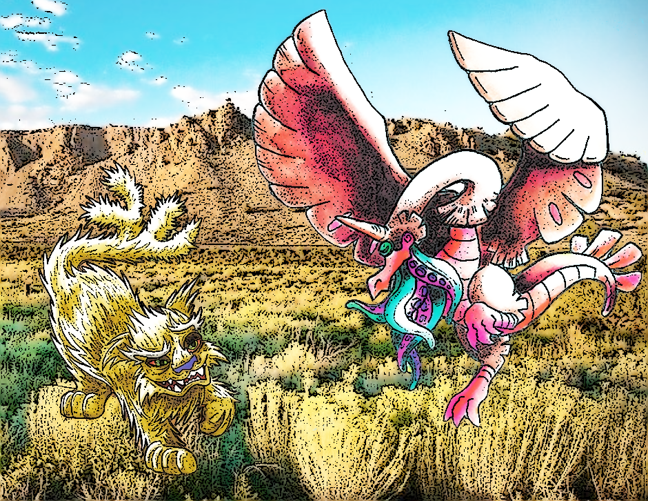 Cactus Cat and Snallygaster in a Chapparal background.
