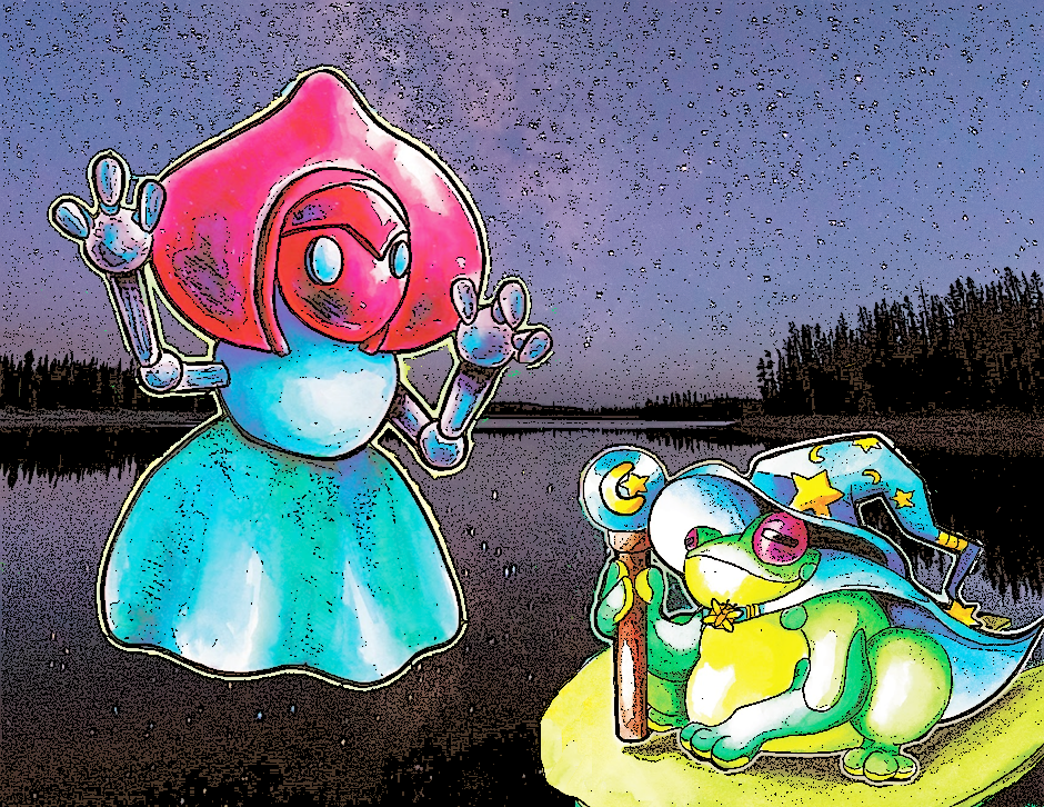 Flatwoods Monster and Loveland Frogman chilling by the lake. Who knew Stars gave so much power? All rights reserved to the original artists.