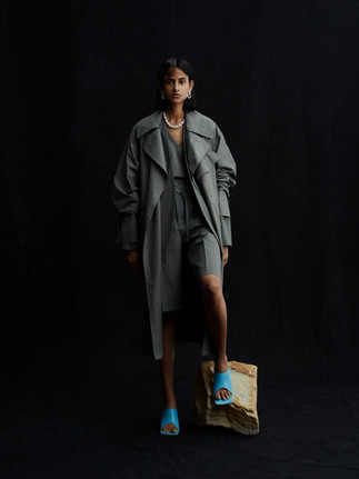 LIGHT WEIGHT MOTORCYCLE COAT 21SCO-#609L ARMY GREEN  NO COLLAR JACKET 21SJK-#601L SAGE GREEN  HEXAGON BELT SHORTS 21SPT-#701L SAGE GREEN  V-NECK AMERICAN SLEEVE 21SCT-#725L SAGE GREEN  FRENCH ROPE NECKLACE 21SAC-#722L SILVER  DOUBLE CHAIN CLIP EARRING 21SAC-#731L SILVER  SQUARE TOE SANDALS 21SSHO-#737L TURQUOISE