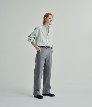 STRIPE BANDED COLLOR SHIRTS 21SSH-#608 WHITE  SEE THROUTGH OVER CREW NECK 21SKN-#626 PALE GREEN  DOUBLE KNEE PANTS 21SPT-#606-DM GRAY