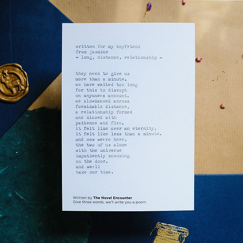 Customised Typewritten Poetry