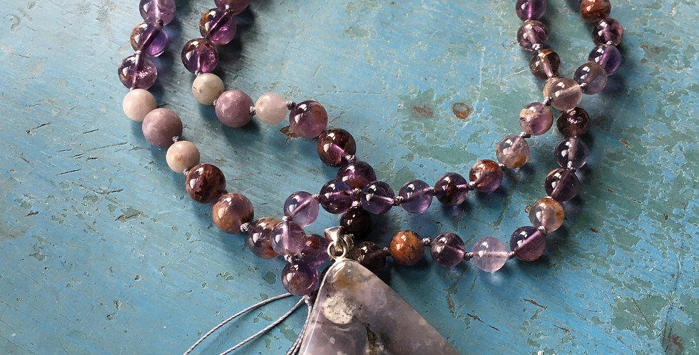 Violet Flame Opal / Super Seven & Pink Tourmaline Knotted Bead Necklace