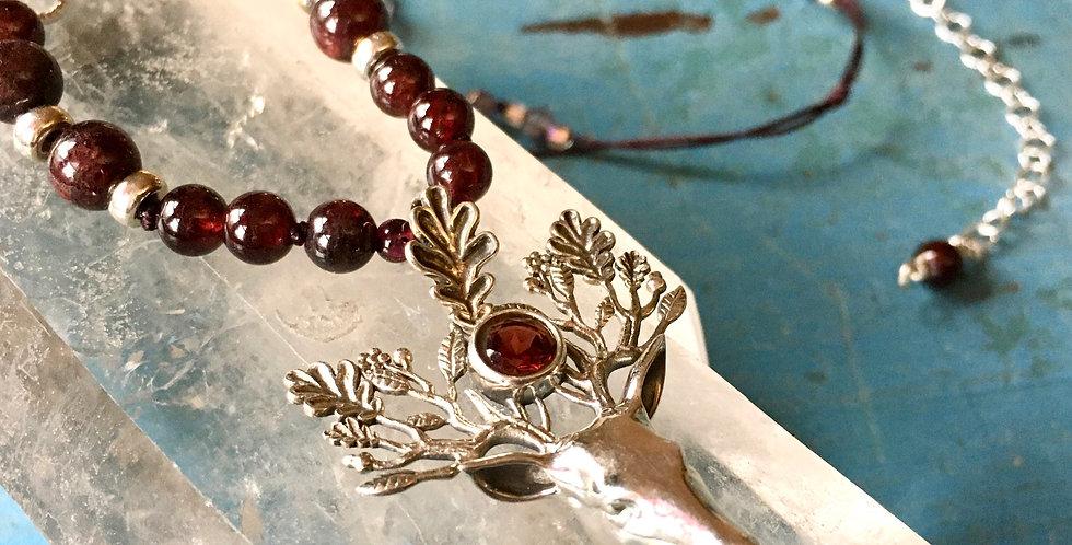 Garnet Deer Stag Elk Head   Sterling Silver   Czech Glass Pendant Necklace