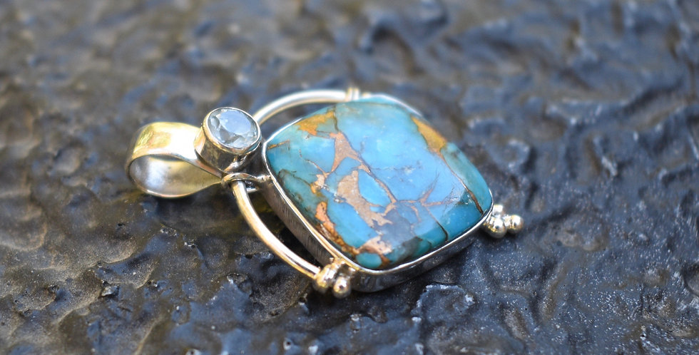 Copper Turquoise & Blue Topaz | 925 Sterling Silver Pendant Necklace