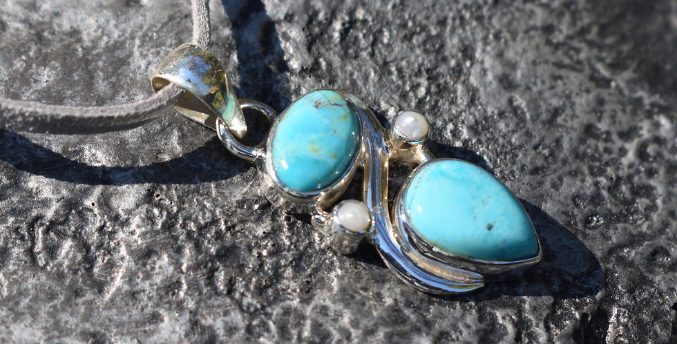 Sleeping Beauty Turquoise & Pearl | 925 Sterling Silver Pendant Necklace