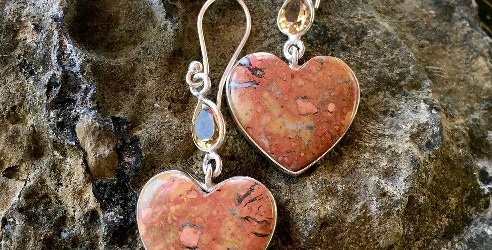 Maligano Jasper + Citrine | Heart-Shaped | 925 Sterling Silver Earrings
