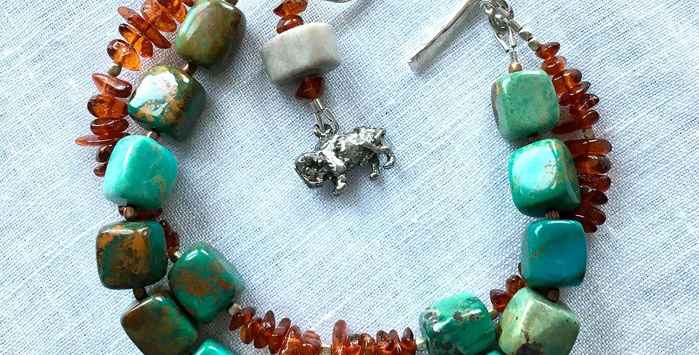 Turquoise, Antler & Amber   Beaded Bracelet