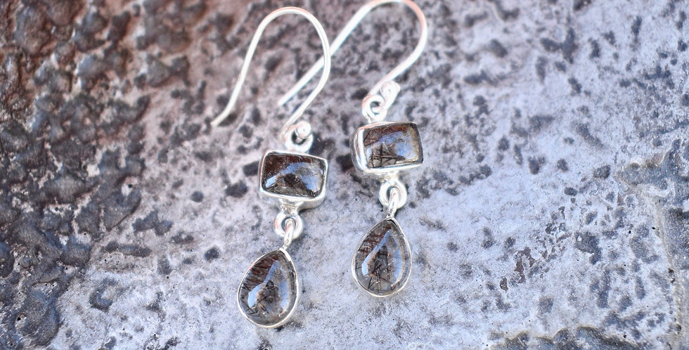 Black Tourmaline in Quartz | 925 Sterling Silver | Earrings