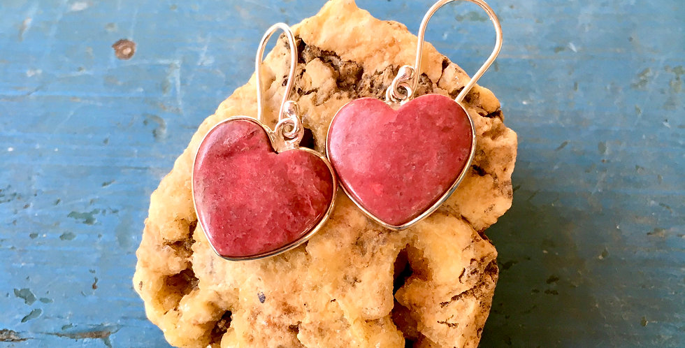 Pink Thulite Heart | 925 Sterling Silver Earrings