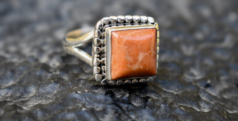 Coral | 925 Sterling Silver | Ring Size 7.5
