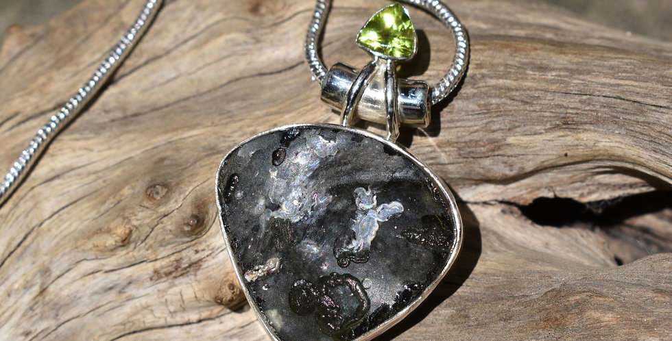 Ancient Roman Glass & Peridot 925 Sterling Silver Pendant Necklace