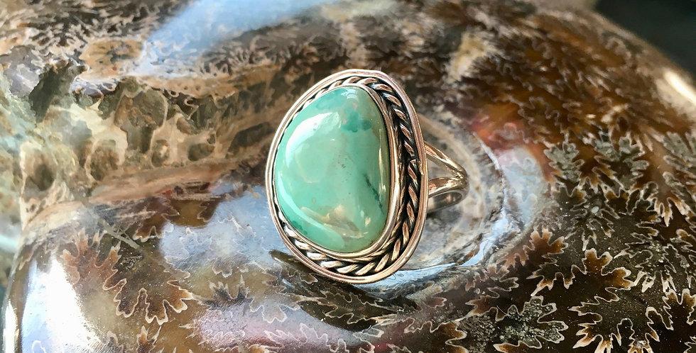 Tibetan Turquoise   925 Sterling Silver   Ring Size 7.25   Gemstone Crystal