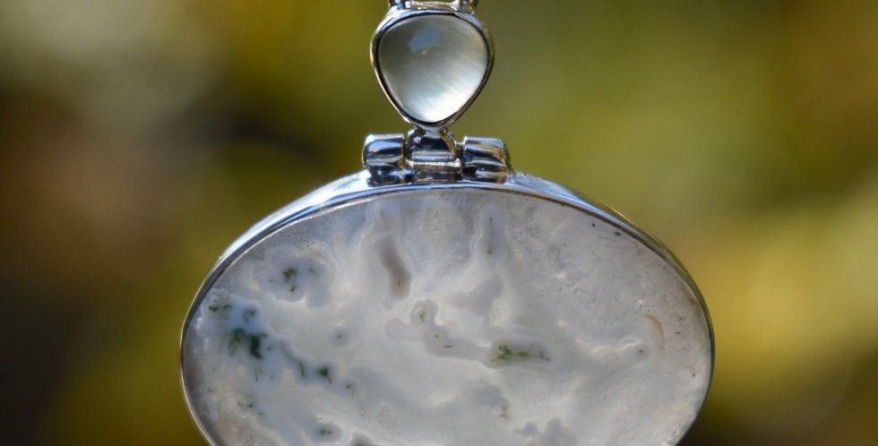 Horse Canyon Moss Agate & Prehnite | 925 Sterling Silver Pendant Necklace