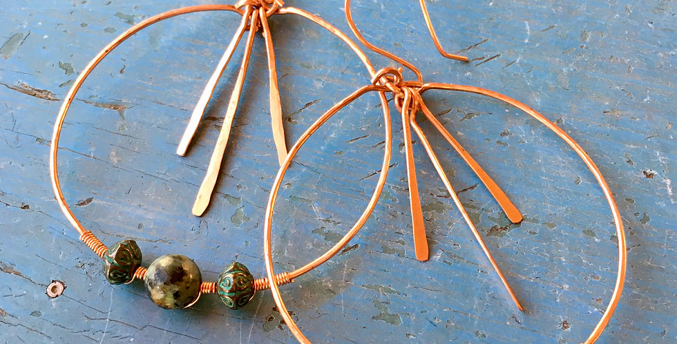 Copper Wire Turquoise Bead Earrings