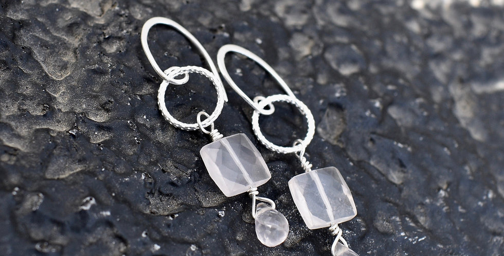 Rose Quartz Teardrop | 925 Sterling Silver | Earrings