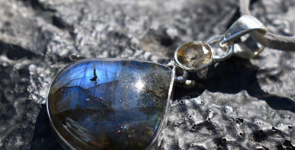 Labradorite & Citrine | 925 Sterling Silver Pendant Necklace