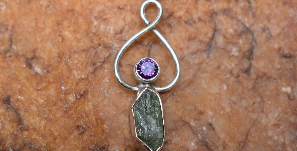 Rough Peridot & Amethyst 925 Sterling Silver Pendant Necklace