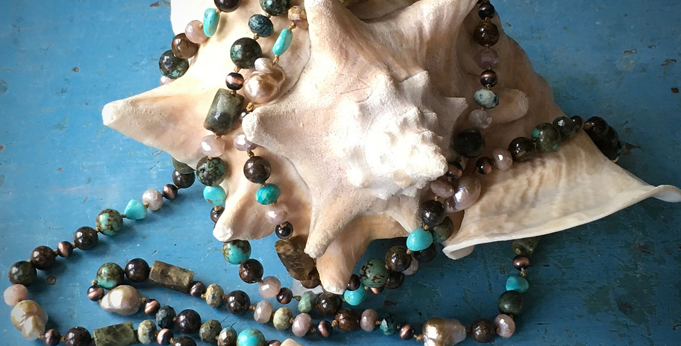 Long Beaded Gemstone Lariat with Antler, Turquoise, and Pearl