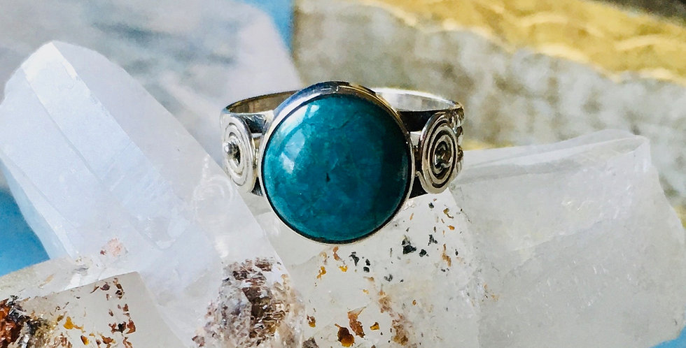 Peruvian Blue Opal | 925 Sterling Silver | Ring Size 7.5 | Crystal Gemstone