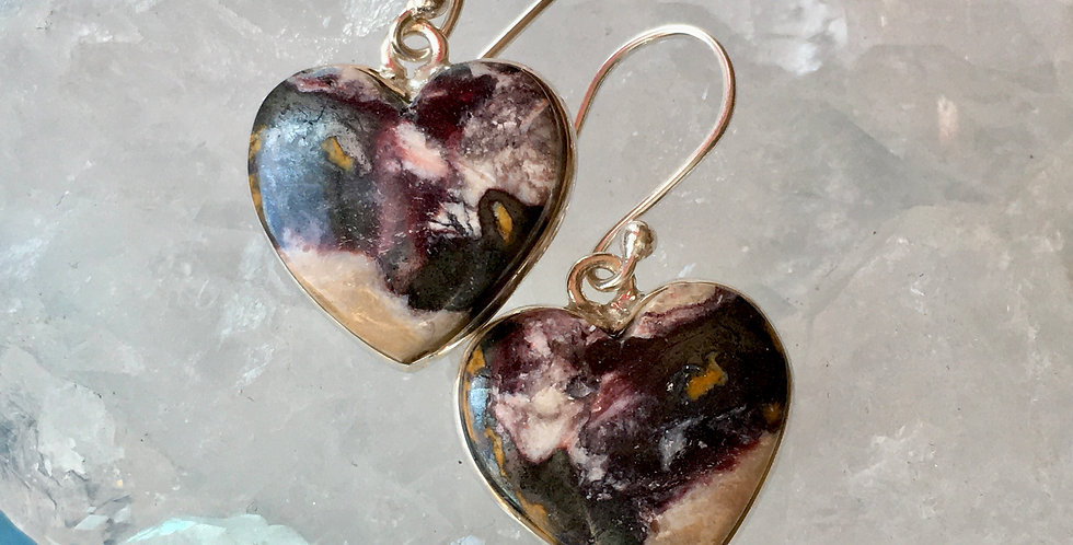 Indian Blanket Jasper | Heart-Shaped | 925 Sterling Silver Earrings