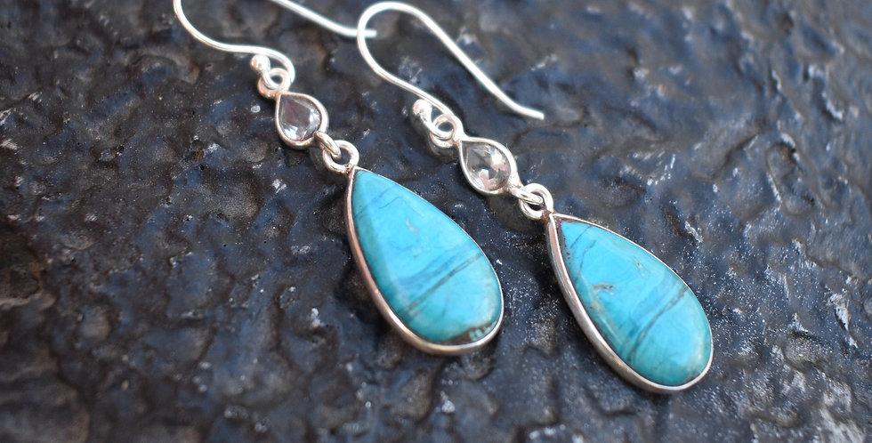 Peruvian Opal & Blue Topaz | 925 Sterling Silver | Earrings