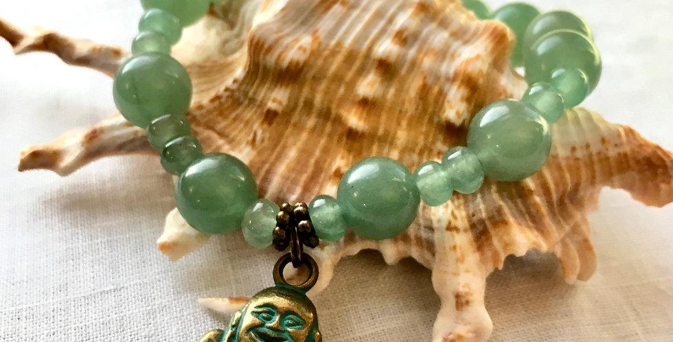 Aventurine  | Beaded Stretch Bracelet | Buddha Charm