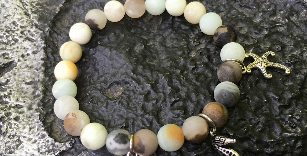 AMAZONITE | Stacking Stretch Gemstone Bracelet | Starfish Sea Horse Sand Dollar