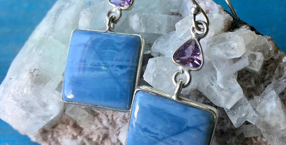 Owyhee Opal & Amethyst | 925 Sterling Silver | Earrings