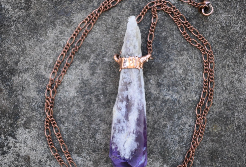 Amethyst Root Point   Electroformed Copper   Pendant Necklace