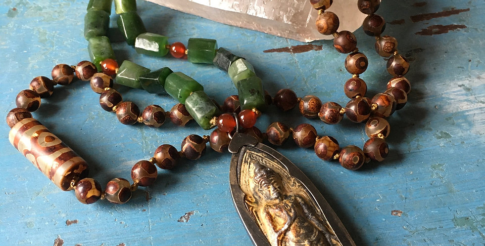 Buddha + JADE + AGATE  | Hand Knotted Mala Style Beaded Necklace