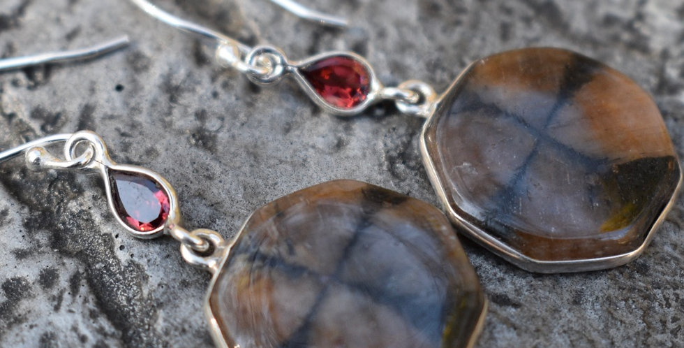 Chiastolite (Cross Stone) & Garnet | 925 Sterling Silver | Earrings