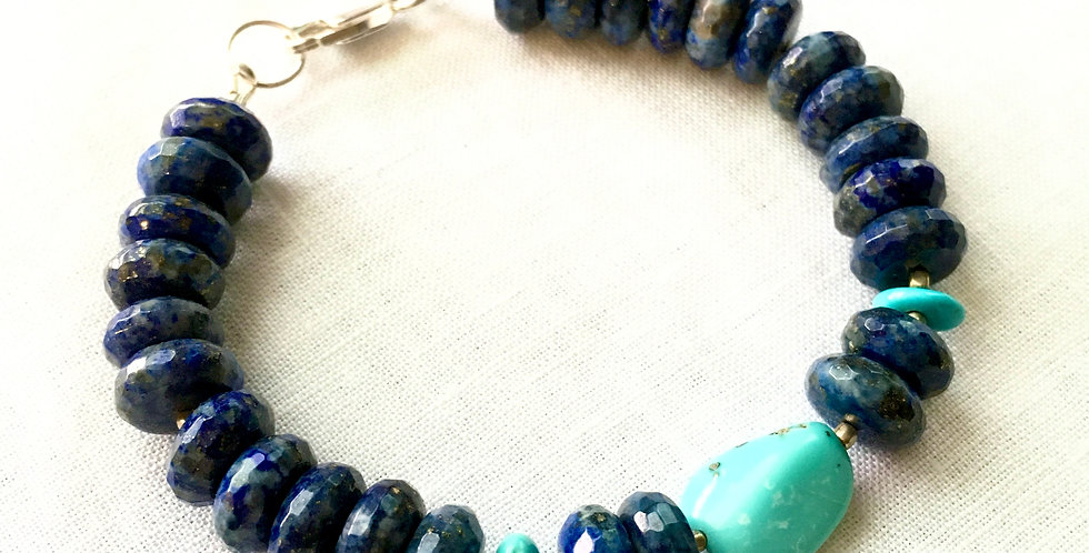 Lapis Lazuli and Turquoise Beaded Bracelet with Sterling silver clasp