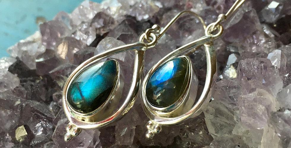 Labradorite | 925 Sterling Silver Dangle Drop Earrings