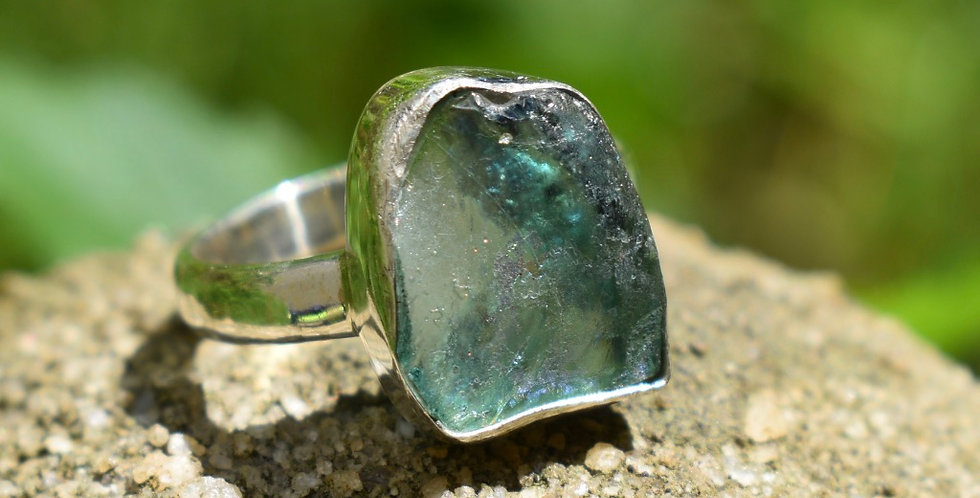 Ancient Roman Glass 925 Sterling Silver Ring Size 8
