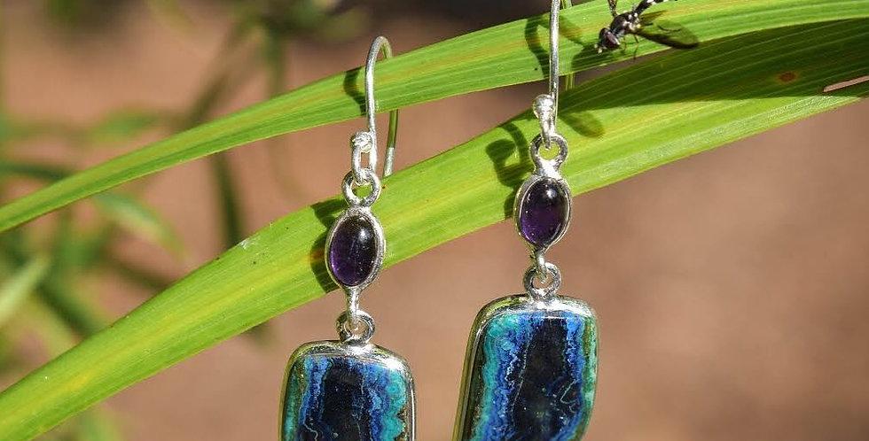 Malachite in Azurite & Amethyst | 925 Sterling Silver | Earrings