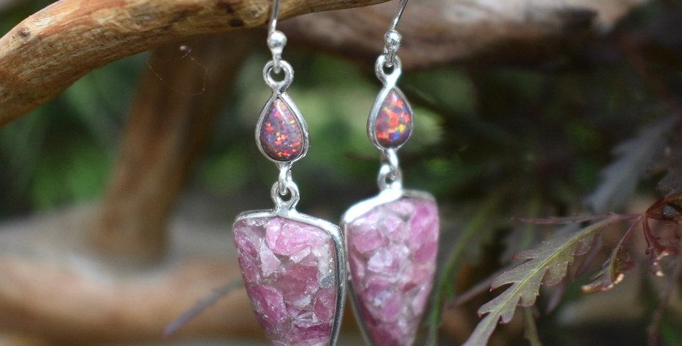 Pink Tourmaline Quartz & Fire Opal 925 Sterling Silver Earrings Jewelry