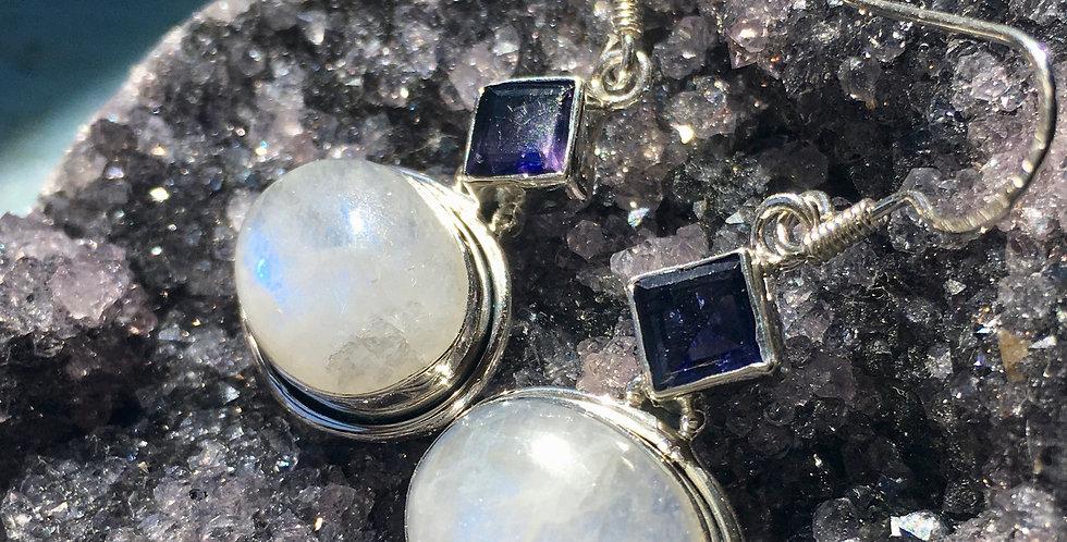 Moonstone & Tanzanite   925 Sterling Silver   Earrings