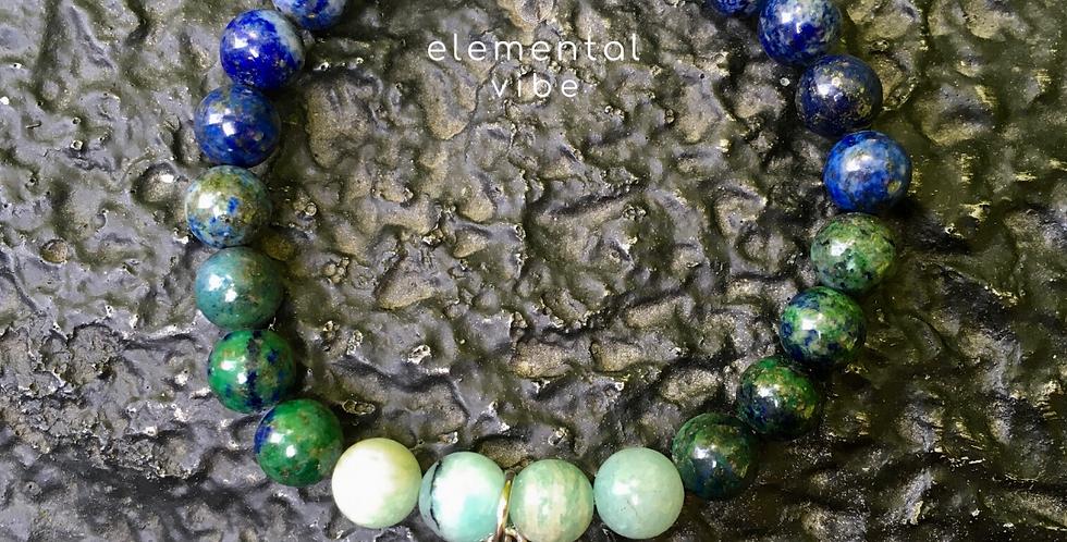 CHRYSOCOLLA, AMAZONITE | Stacking Stretch Gemstone Bracelet | MermaidCharm