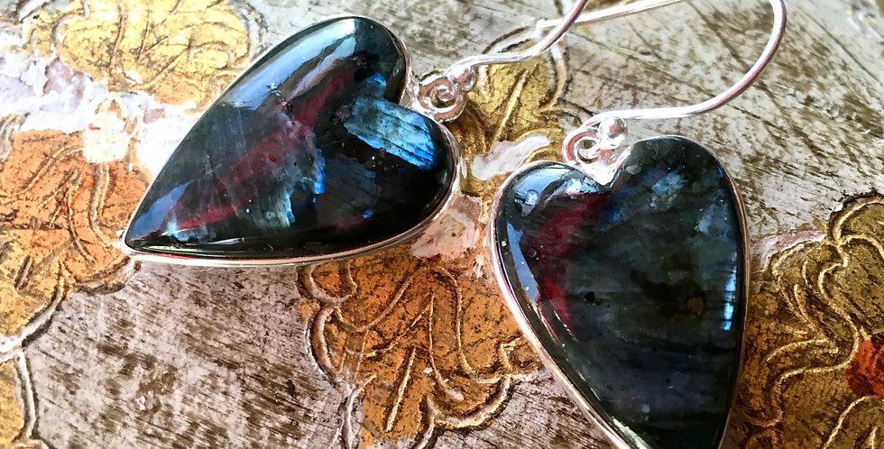 Larvikite (Black Moonstone) Heart | 925 Sterling Silver Earrings