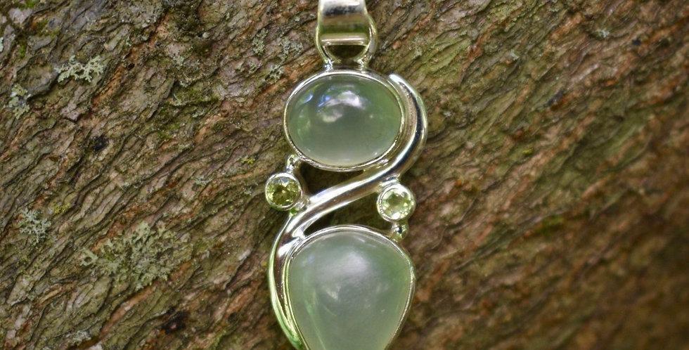 Prehnite & Peridot 925 Sterling Silver Pendant Necklace