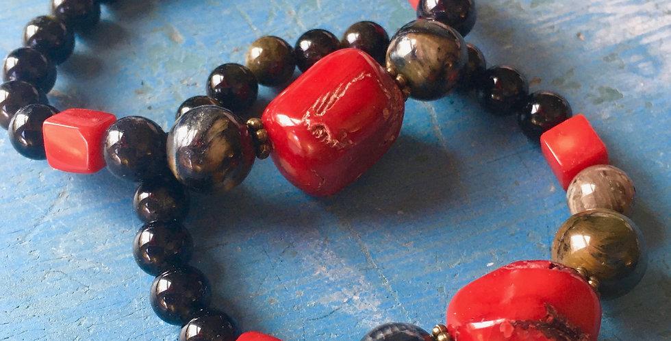 Vintage Coral + Blue Tiger Eye + Obsidian | Stacking Stretch Beaded Bracelet