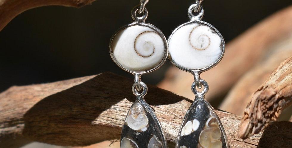 Turtella Jasper & Shiva Eye 925 Sterling Silver Earrings Jewelry