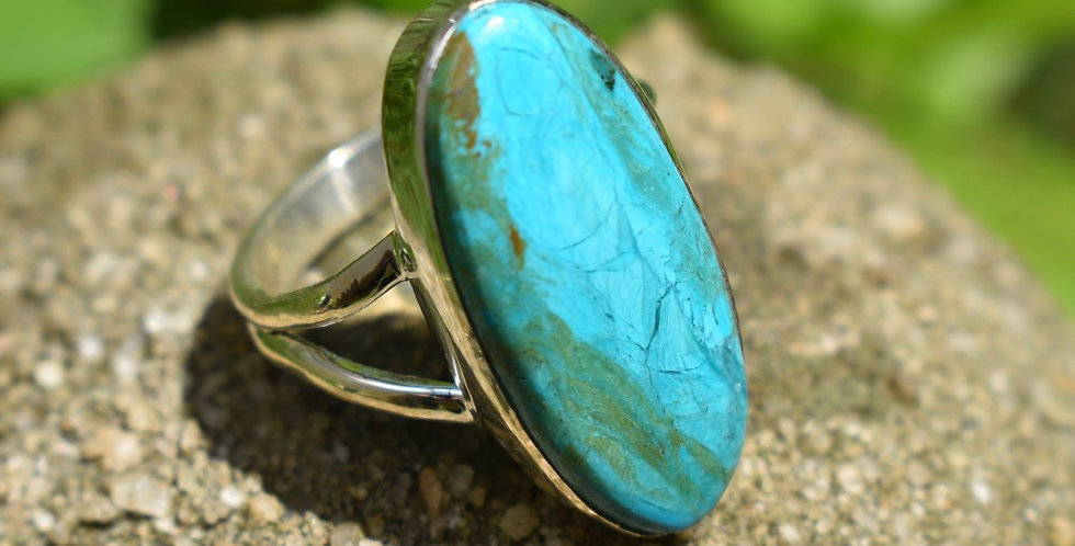 Peruvian Blue Opal 925 Sterling Silver Ring Size 7.5