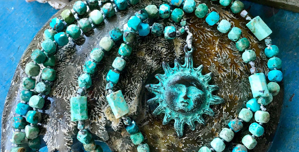 Peruvian Turquoise + Sun  | 108 Bead Mala
