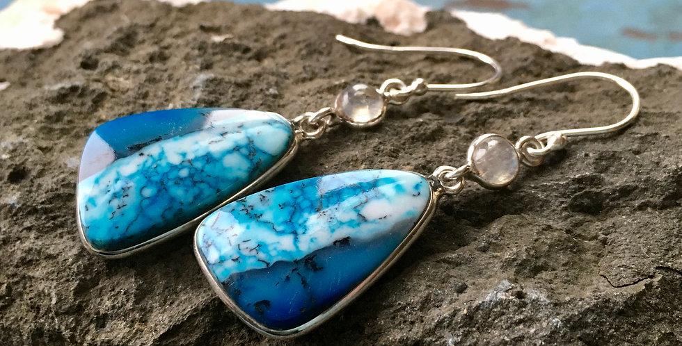 Blue Dendritic Opal  + Rainbow Moonstone   925 Sterling Silver Earrings