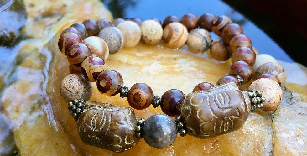 Jade Buddha, Jasper, Tibetan Agate  | Stacking Stretch Yoga Mens Bracelet Set