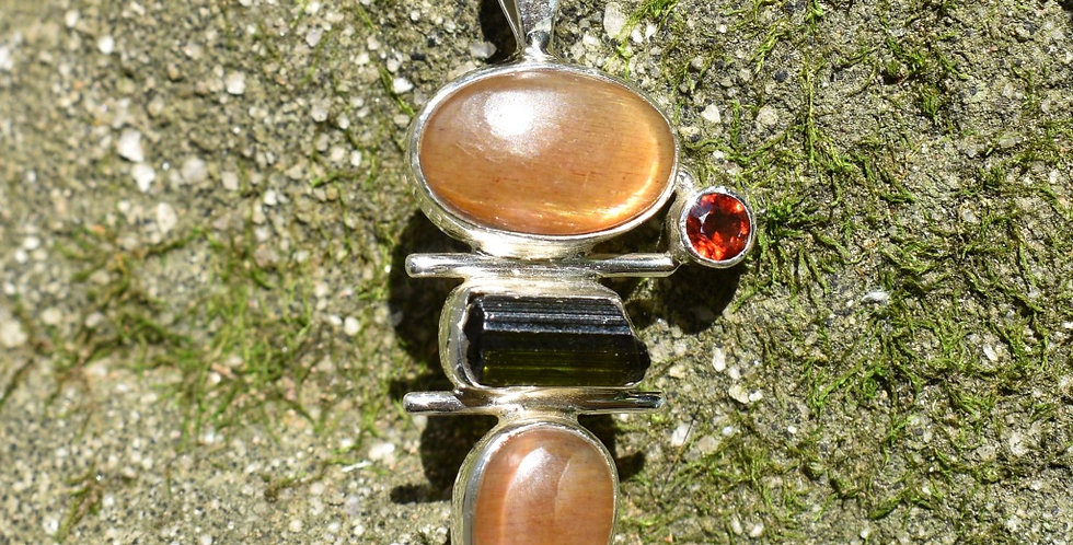 Sunstone, Green Tourmaline & Garnet 925 Sterling Silver Pendant Necklace