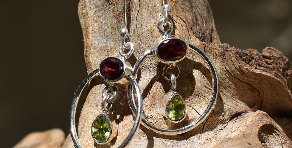 Garnet - Madagascar & Peridot 925 Sterling Silver Earrings Jewelry